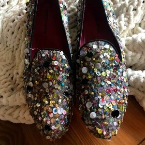 Anthro Los Angeles sequin slip-on loafer